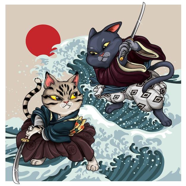 Koty Samurajskie Premium Wektorów