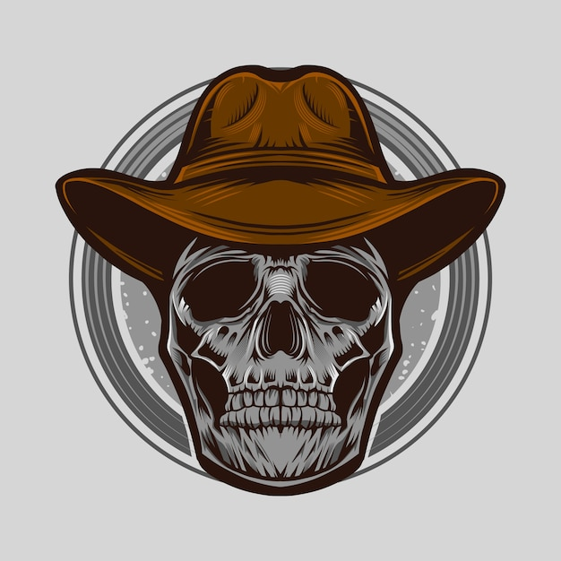 Kowbojska czaszka wektorowa ilustracja odizolowywająca Premium Wektorów