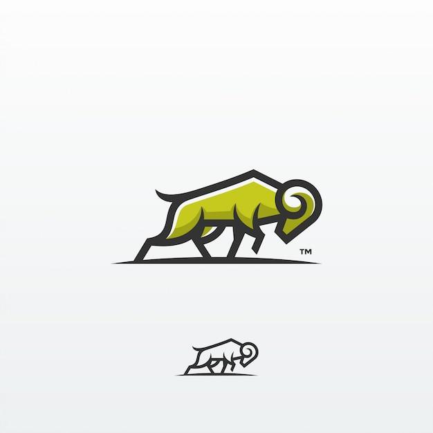 Koza Ram Koza Ram Ilustracja Logo Projekt Szablonu Wektor Premium Wektorów