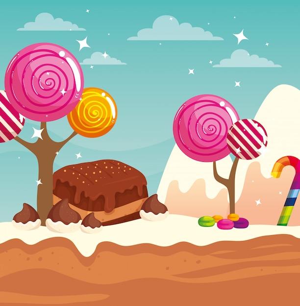 Kraina Słodyczy Z Brownie I Karmelami Premium Wektorów