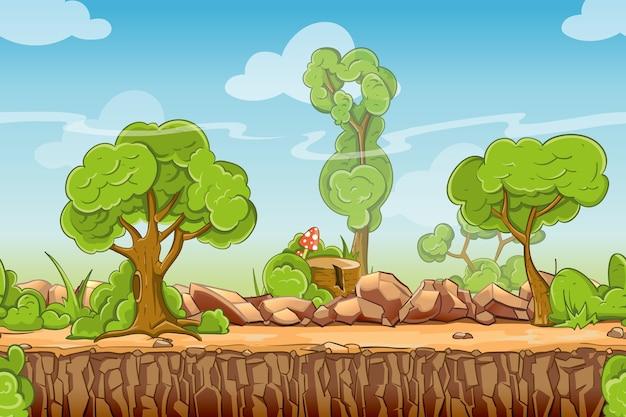 Kraj Bez Szwu Krajobraz W Stylu Cartoon. Panorama Przyrody, Zielone Drzewo Na Zewnątrz, Ilustracji Wektorowych Darmowych Wektorów