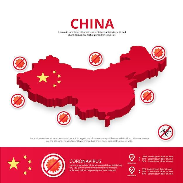 Kraj Chiny Covid-19 Infografika Premium Wektorów