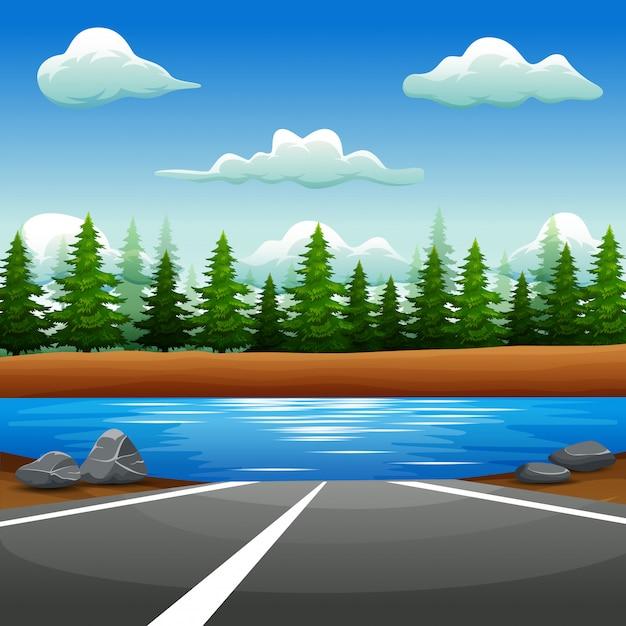 Krajobraz drogi do rzeki Premium Wektorów