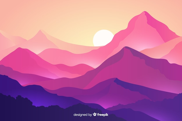 Krajobraz Gór Z Góry I Zachód Słońca Darmowych Wektorów
