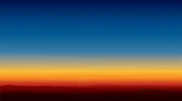 Krajobraz Górski Zachód Słońca Premium Wektorów