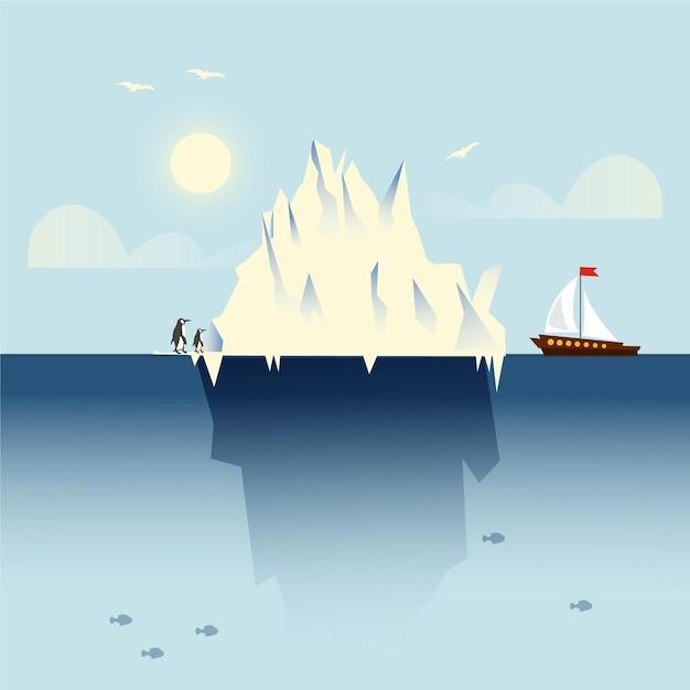 Krajobraz Góry Lodowej Z łodzią I Pingwinami Darmowych Wektorów