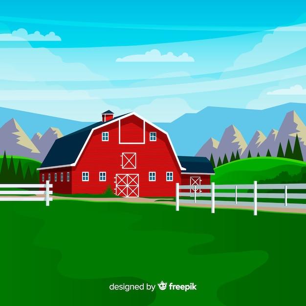 Krajobraz Gospodarstwa W Stylu Płaski Darmowych Wektorów