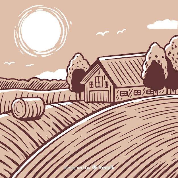 Krajobraz gospodarstwa Darmowych Wektorów
