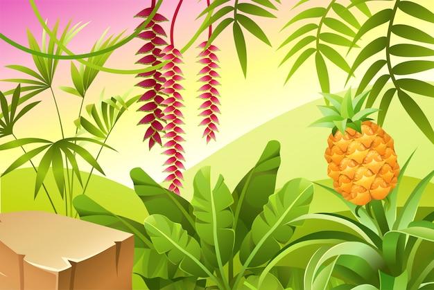 Krajobraz Gry Z Roślinami Tropikalnymi. Darmowych Wektorów
