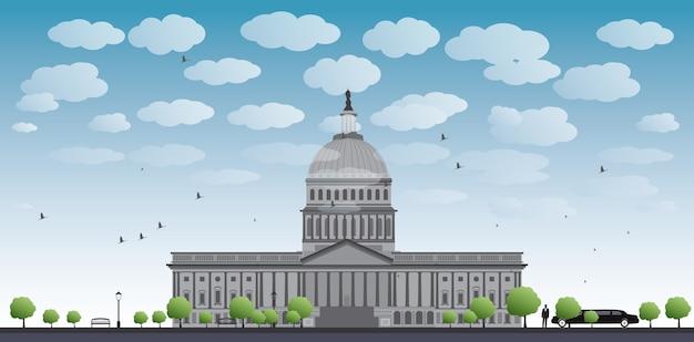 Krajobraz kapitolu w waszyngtonie, usa Premium Wektorów