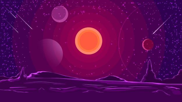Krajobraz kosmiczny z zachodem słońca na fioletowym niebie Premium Wektorów