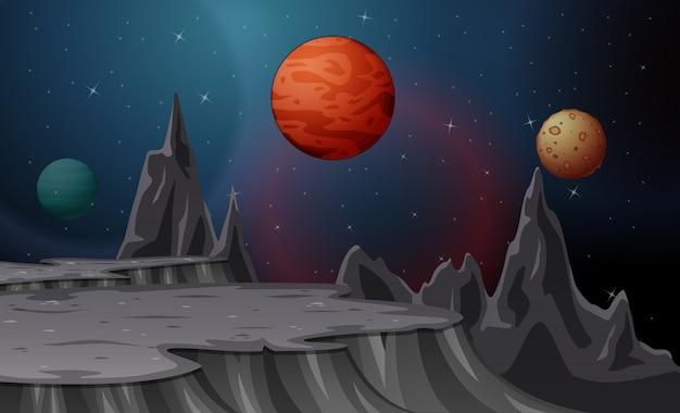 Krajobraz kreskówka z księżyców i planet na gwiaździste niebo Premium Wektorów