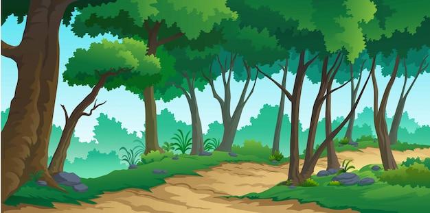 Krajobraz lasów w ciągu dnia Premium Wektorów