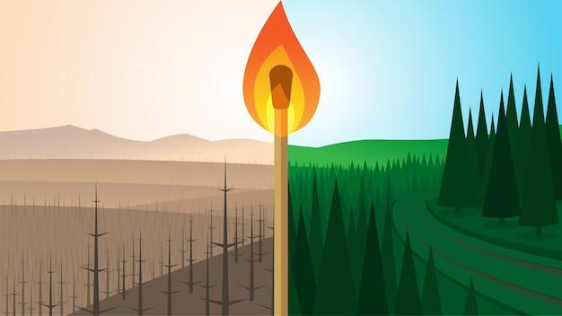 Krajobraz Lasu Przed I Po Pożarze Premium Wektorów