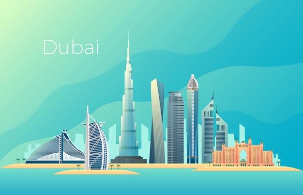 Krajobraz Miasta Dubaju. Emirates Architektura Gród Wektor Punkt Orientacyjny Premium Wektorów