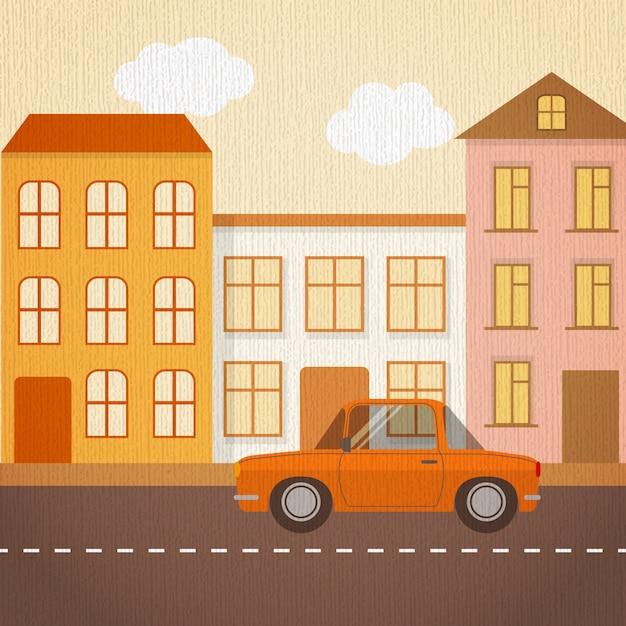Krajobraz miejski w stylu retro Premium Wektorów