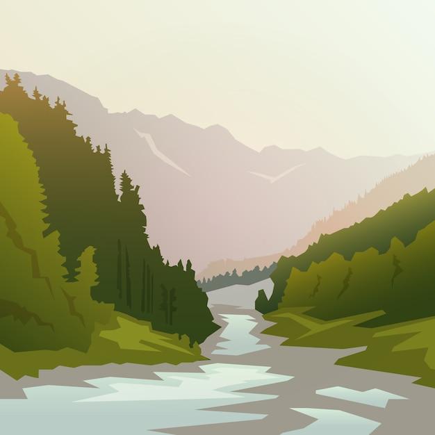 Krajobraz Na Tematy: Natura Kanady, Przetrwanie Na Wolności, Camping. Ilustracja. Premium Wektorów