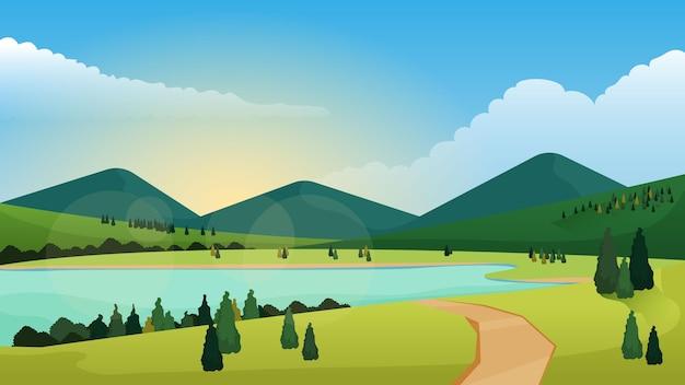 Krajobraz Naturalny - Tło Do Wideokonferencji Premium Wektorów