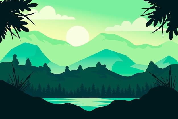 Krajobraz Naturalny - Tło Do Wideokonferencji Darmowych Wektorów