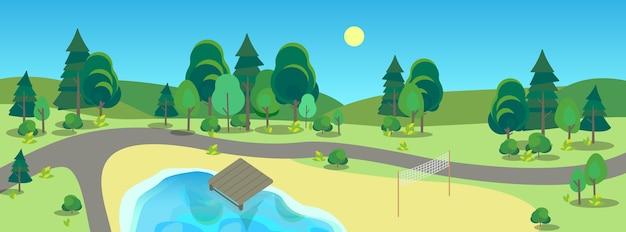 Krajobraz Parku Miejskiego. Zielona Trawa, Staw I Drzewa. Letnia Sceneria Z Niebieskim Niebem. Chodnik W Parku. Premium Wektorów