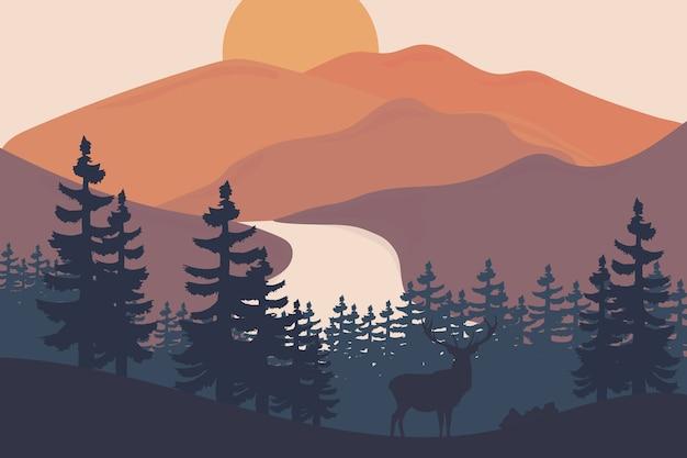 Krajobraz Piękne Góry Po Południu Są Pomarańczowe I Zielone Premium Wektorów