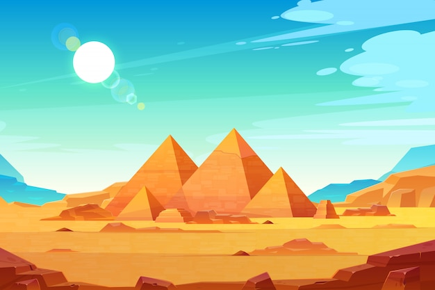 Krajobraz płaskowyżu gizy z kompleksem piramid egipskich faraonów oświetlony Darmowych Wektorów