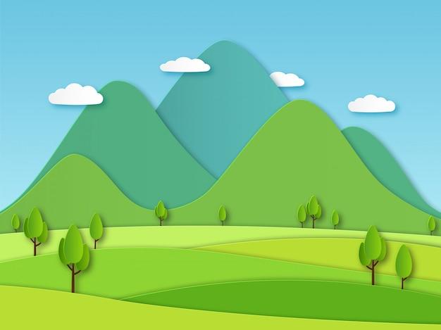 Krajobraz Pola Papieru. Letni Krajobraz Z Zielonymi Wzgórzami I Błękitnym Niebem, Białe Chmury. Obraz Kreatywnej Natury Z Warstwami Papieru Premium Wektorów
