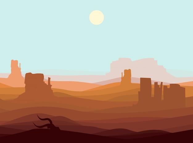 Krajobraz Pustyni Zachodniej Darmowych Wektorów