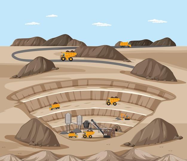 Krajobraz Sceny Wydobycia Węgla Z Dźwigiem I Ciężarówkami Darmowych Wektorów