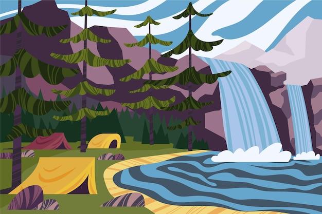 Krajobraz Terenu Kempingowego Z Wodospadami Darmowych Wektorów