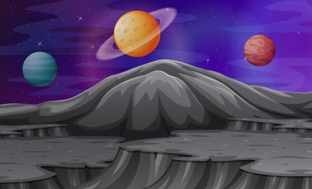 Krajobraz w górach marsa z innymi planetami Premium Wektorów
