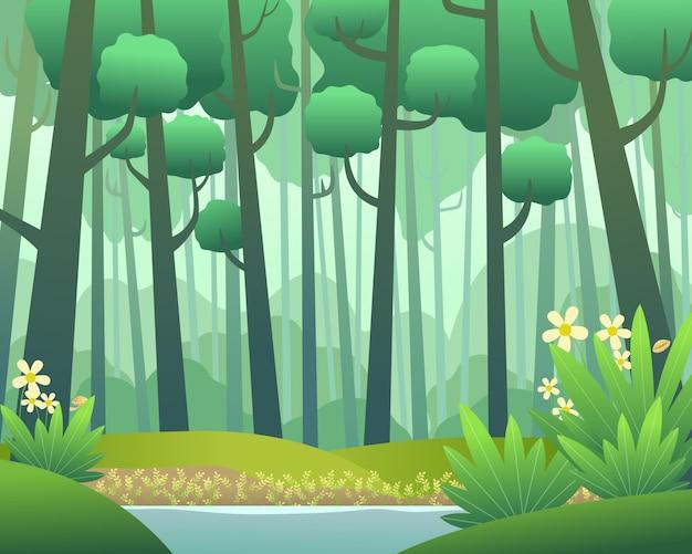 Krajobraz wektor z sosnowego lasu na wiosnę Premium Wektorów