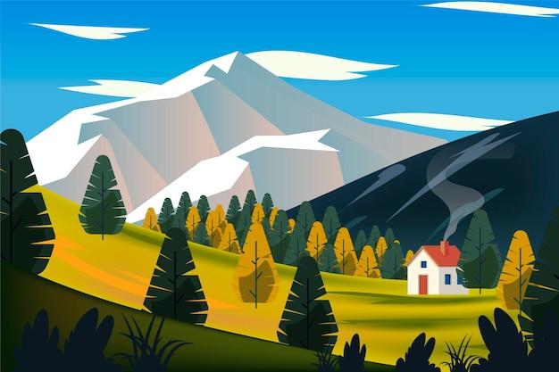Krajobraz Wiejski Z Domem Na Wzgórzu Darmowych Wektorów
