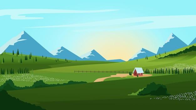 Krajobraz Wiejski Z Górami Darmowych Wektorów