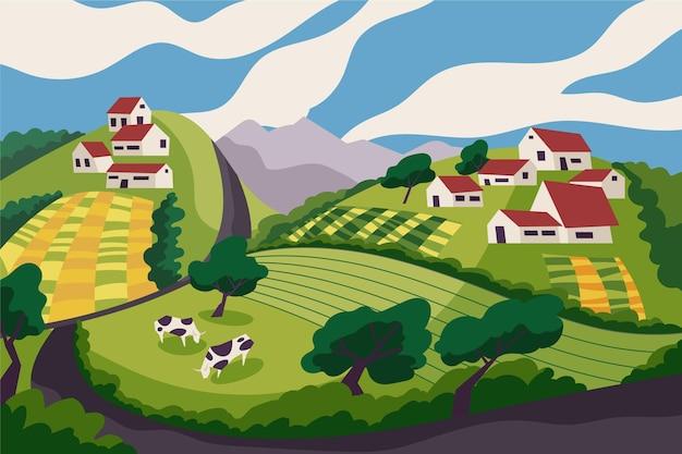 Krajobraz Wiejski Z Krowami Darmowych Wektorów