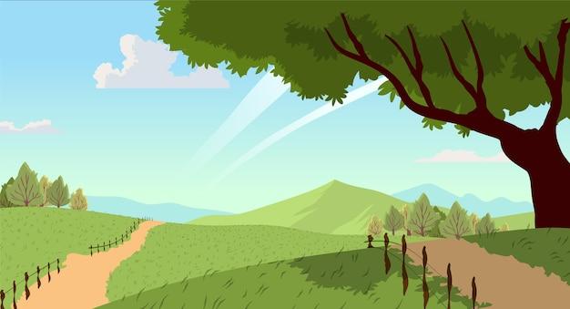 Krajobraz Wsi Z Drzewem Premium Wektorów