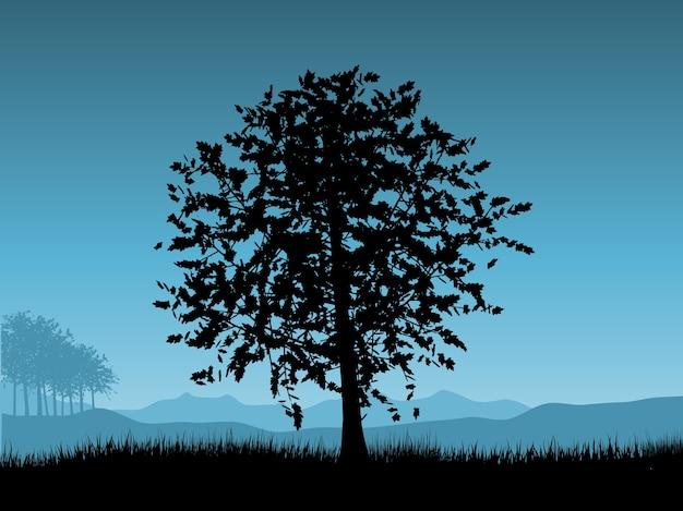Krajobraz Z Drzewami Na Nocnym Niebie Darmowych Wektorów