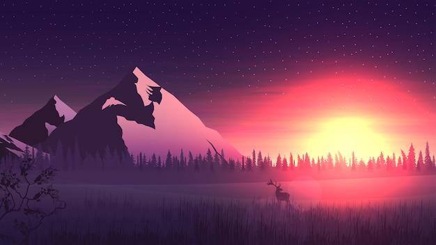 Krajobraz Z Dużymi Górami I Lasem Sosnowym Na Horyzoncie, Jasnym Pomarańczowym Wschodem Słońca I Jeleniami W Zaśnieżonym Miadowie Premium Wektorów