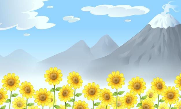Krajobraz Z Górami I Słonecznikami Ilustracyjnymi Premium Wektorów