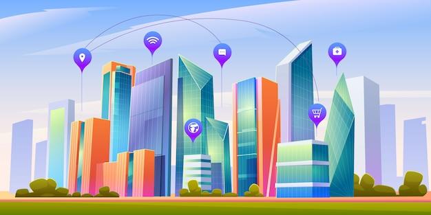 Krajobraz Z Inteligentnego Miasta I Plansza Ikony Darmowych Wektorów