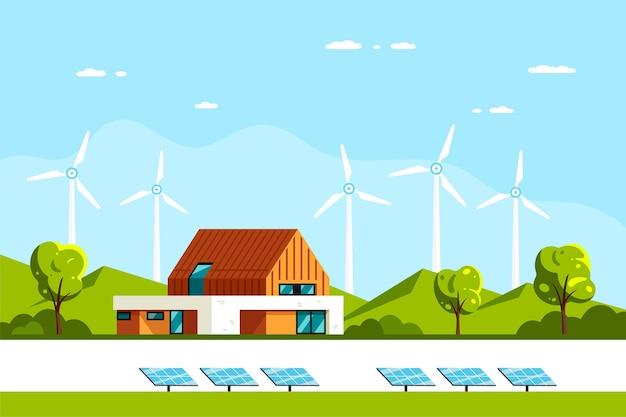 Krajobraz Z Nowoczesnym Domem, Panelami Słonecznymi I Turbinami Wiatrowymi. Dom Ekologiczny, Dom Energooszczędny, Zielona Energia. Premium Wektorów