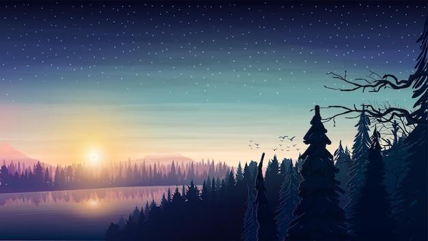 Krajobraz Z Szeroką Rzeką Przepływającą Przez Gęsty Las Sosnowy W Pagórkowatym Terenie O Wschodzie Słońca. Wschód Słońca W Lesie Z Rozgwieżdżonym Niebem Premium Wektorów