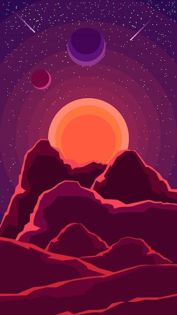Krajobraz z zachodem słońca, inne planety i rozgwieżdżone niebo w odcieniach fioletu Premium Wektorów