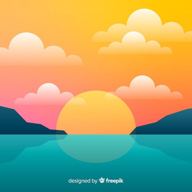 Krajobraz zachód słońca plaży gradientu Darmowych Wektorów