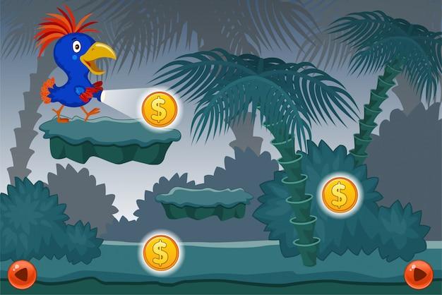 Krajobrazowa Gra Komputerowa Z Papuzią Ilustracją Darmowych Wektorów