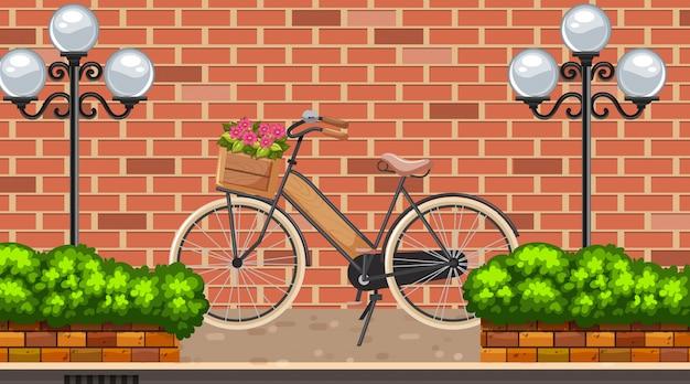 Krajobrazowy Tło Z Rowerem Na Drodze Premium Wektorów