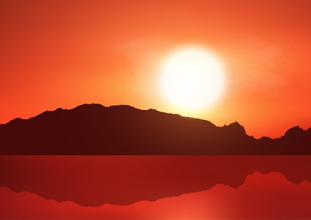Krajobrazowy Tło Z Wzgórzami Przeciw Zmierzchu Niebu Darmowych Wektorów