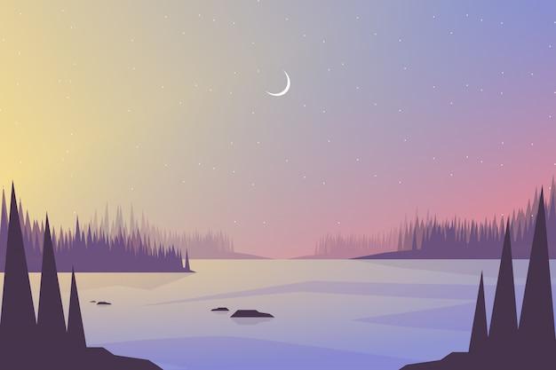 Krajobrazy kolorowy krajobraz nieba i morza Premium Wektorów
