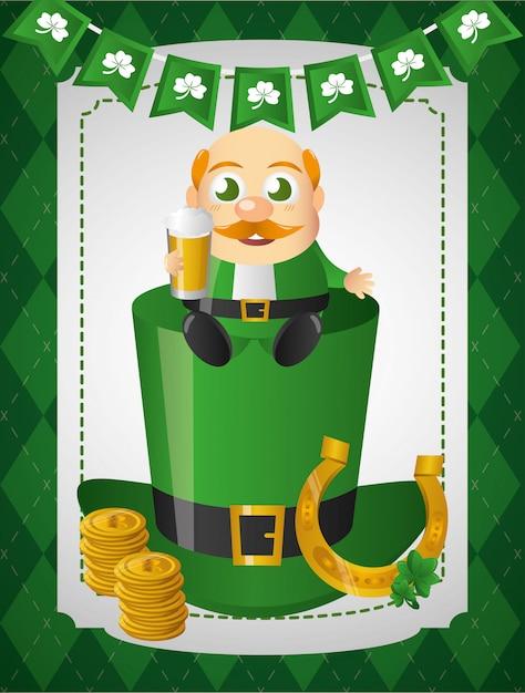Krasnoludek irlandzki ze złotą podkową siedzi na zielonym kapeluszu Darmowych Wektorów