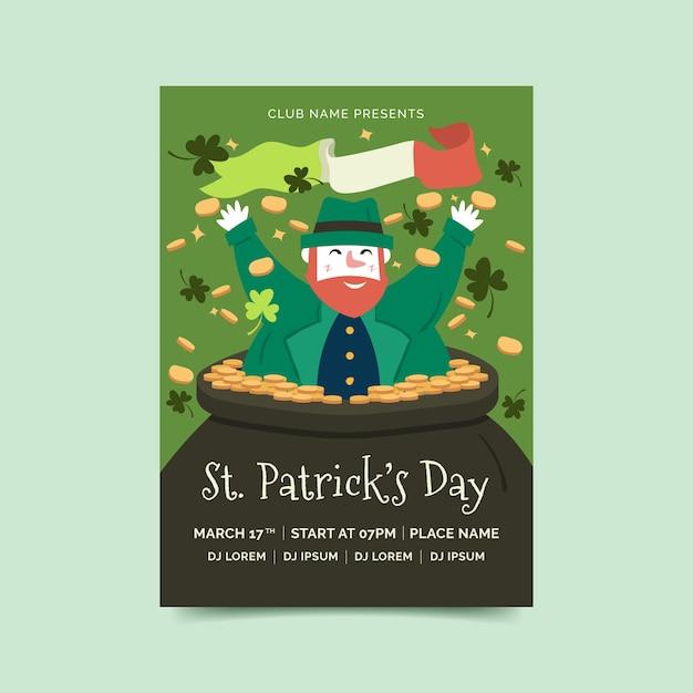 Krasnoludek Plakat św. Dzień Patryka Darmowych Wektorów